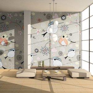 Fotobehang - Vliesbehang Natuurlijke patroon met vogels, kinderkamer
