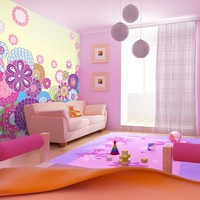 Fotobehang - Vliesbehang Geluk aan de muur, kinderkamer