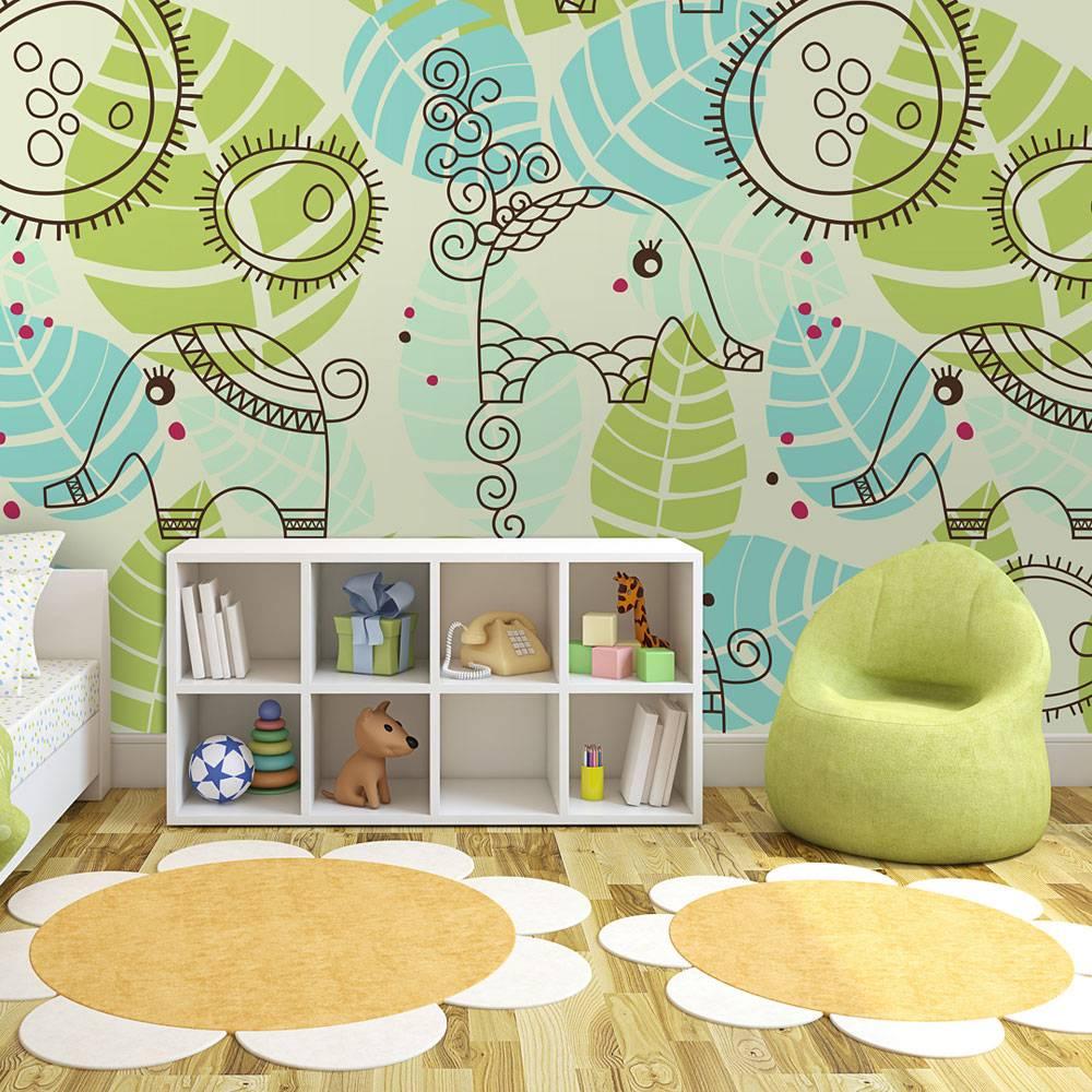 Fotobehang - Olifanten patroon, kinderkamer