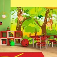 Fotobehang - Vliesbehang Apen in de jungle, kinderkamer