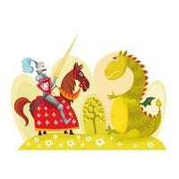 Fotobehang - Draak en ridder, kinderkamer