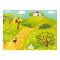 Fotobehang - Kasteel op heuvel, kinderkamer