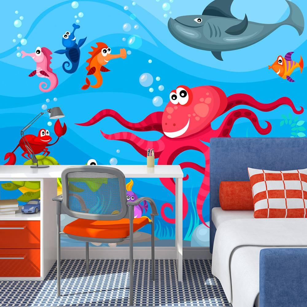 Fotobehang - Octopus en haai, kinderkamer