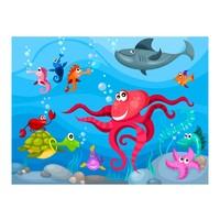 Fotobehang - Vliesbehang  Octopus en haai, kinderkamer