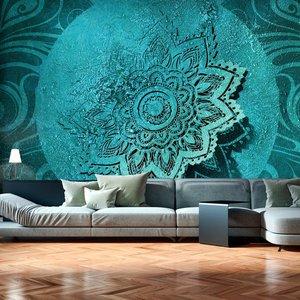 Fotobehang - Azure Bloem , mandala , blauw
