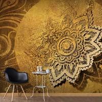 Fotobehang - Gouden mandala , beige bruin , 5 maten