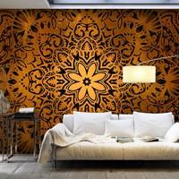 Fotobehang - Bloem van goud , mandala , oranje zwart , 5 maten