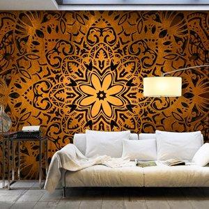 Fotobehang - Bloem van goud , mandala , oranje zwart