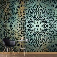 Fotobehang - De bloem van rust , mandala , zwart blauw , 5 maten