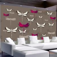Fotobehang - Libellen , rood wit