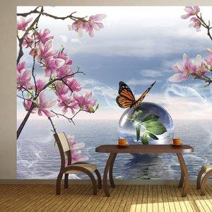 Fotobehang - Vlinder en Orchidee , multi kleur
