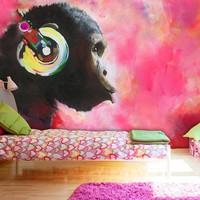 Fotobehang - Chimpansee , multi kleur , 5 maten