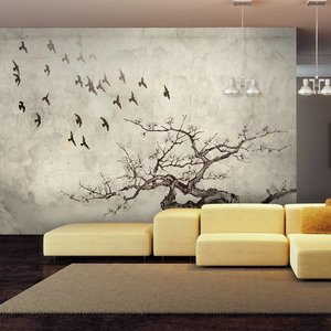 Fotobehang - Vogels in vlucht , zwart wit