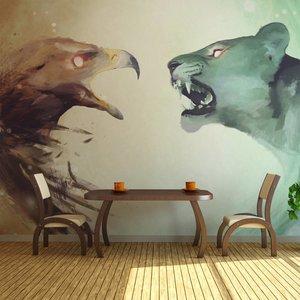 Fotobehang - Dieren in Gevecht , multi kleur