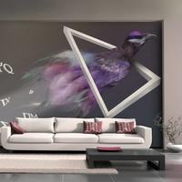 Fotobehang - vogel (abstractie) , multi kleur