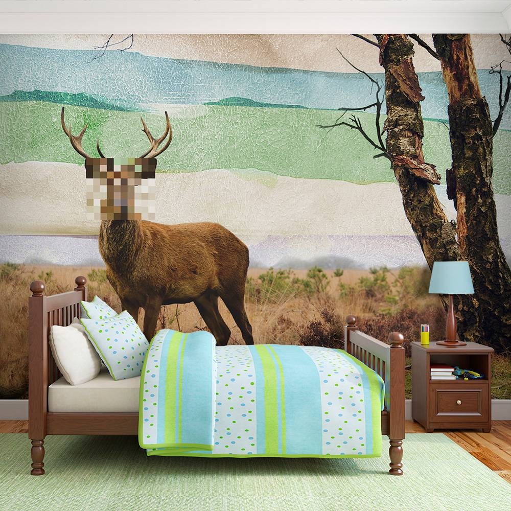 Fotobehang - Bos voortvluchtige, hert multi kleur