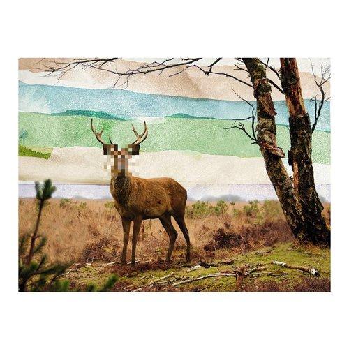 Fotobehang - Bos voortvluchtige, hert multi kleur , 5 maten