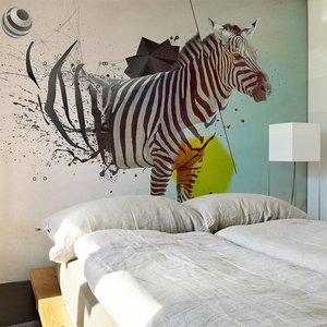 Fotobehang - In disharmonie met de natuur, Zebra , multi kleur ,