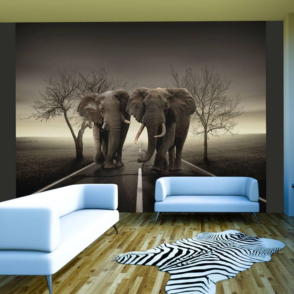 Fotobehang - Stad van olifanten , zwart wit