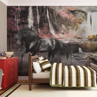Fotobehang - Zwart paard door een waterval