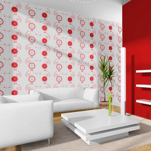 Fotobehang - Duiven , rood  wit