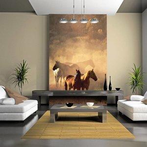 Fotobehang - Wilde paarden van de steppe , beige bruin