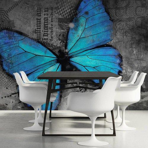 Fotobehang - Blauwe Vlinder , grijs blauw