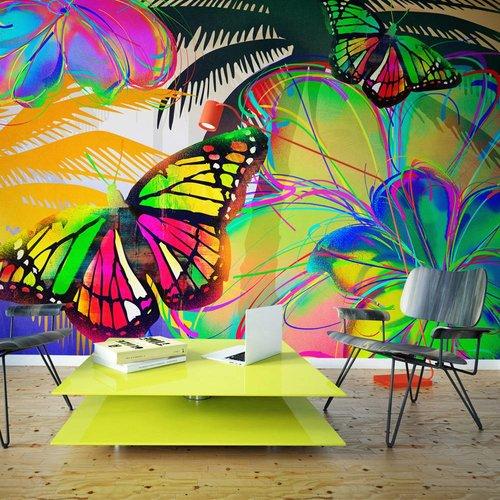 Fotobehang - Kleurige Vlinder , multi kleur