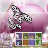 Fotobehang - Vlinders op paarse achtergrond , zwart paars