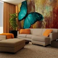 Fotobehang - Geschilderde Vlinder , bruin blauw , 1 maat