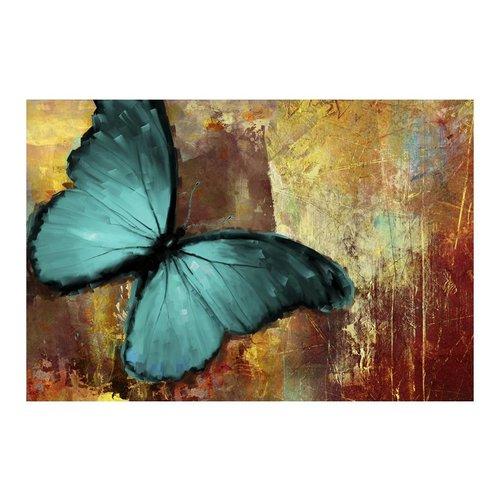 Fotobehang - Geschilderde Vlinder , bruin blauw