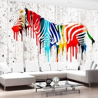 Fotobehang - Gekleurde Zebra  , multi kleur , 5 maten