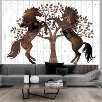 Fotobehang - Mechanische Paarden , wit bruin