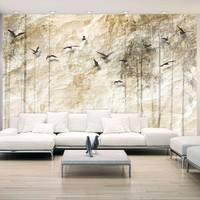 Fotobehang - Papieren wereld , beige zwart