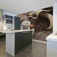 Fotobehang - Koffie en kruiden , wit bruin