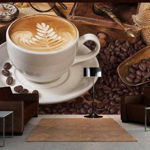 Fotobehang - Koffie met patroon , bruin wit