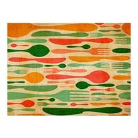 Fotobehang - Bestek - oranje  groen