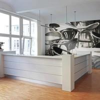 Fotobehang - Koffie huis ,  zwart wit , 5 maten