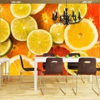 Fotobehang - Citrus vruchten , geel oranje