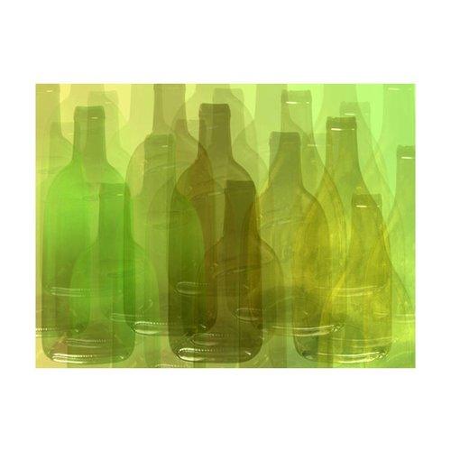 Fotobehang - Groene flessen , bruin