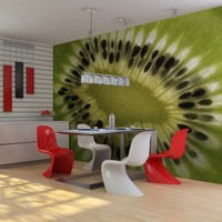 Fotobehang - fruit: kiwi , groen zwart