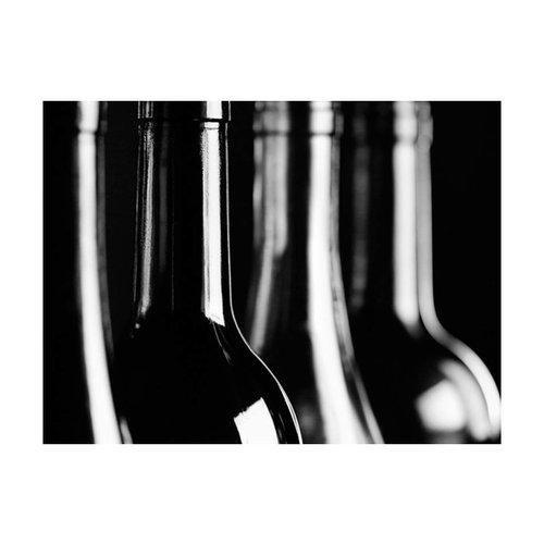 Fotobehang - Wijnflessen , zwart wit