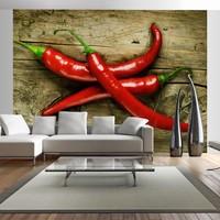 Fotobehang - Chili peper , rood bruin , 5 maten