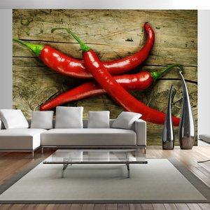 Fotobehang - Chili peper , rood bruin
