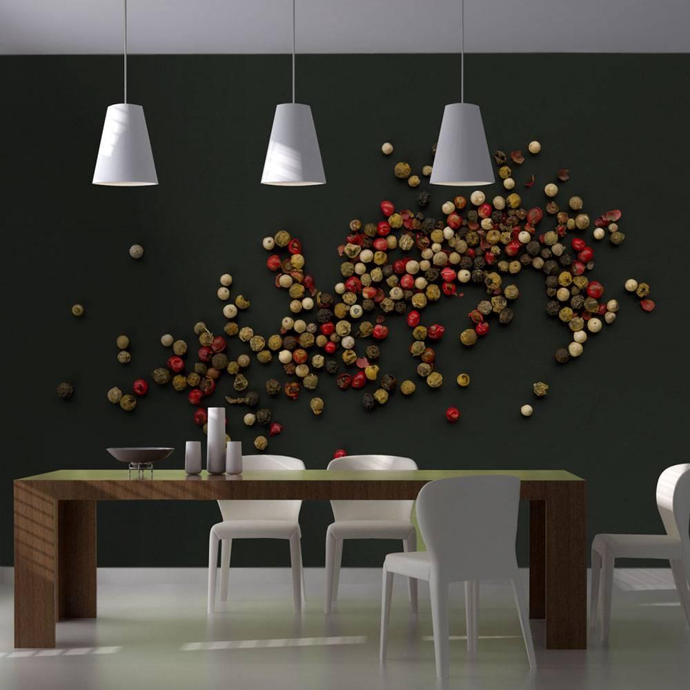 Fotobehang - Samenstelling van gekleurde peper , rood bruin