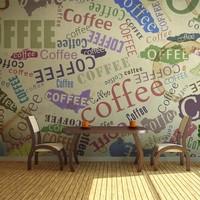 Fotobehang - Koffie op de muur , multi kleur , 1 maat