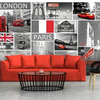 Fotobehang - London, Paris, Berlin, New York
