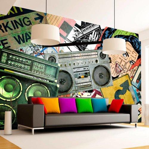 Fotobehang - Graffiti girl - Muziek