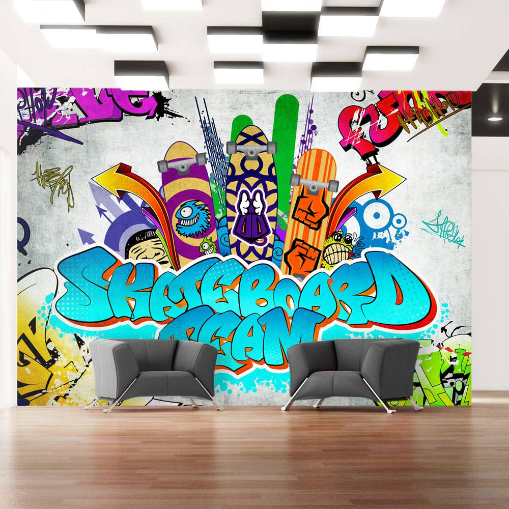 Fotobehang - Skateboard team - Graffiti