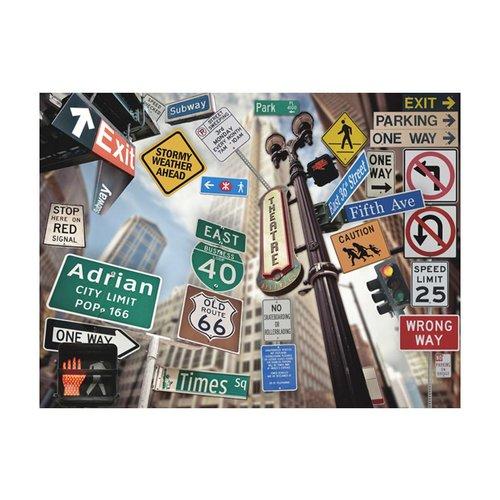 Fotobehang - NYC borden op een gekleurde achtergrond